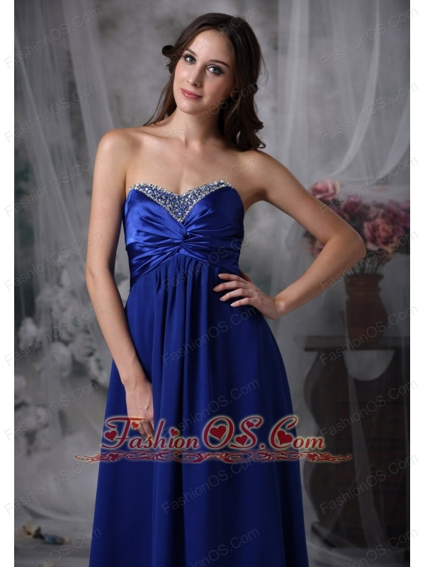 Luxurious Royal Blue Mother of the Bride Dress Empire Sweetheart Beading Chiffon and Elastic Woven Satin Floor-lengt
