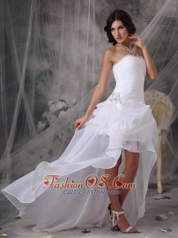 Most Popular High-low White Prom Dress Princess Strapless Organza ...
