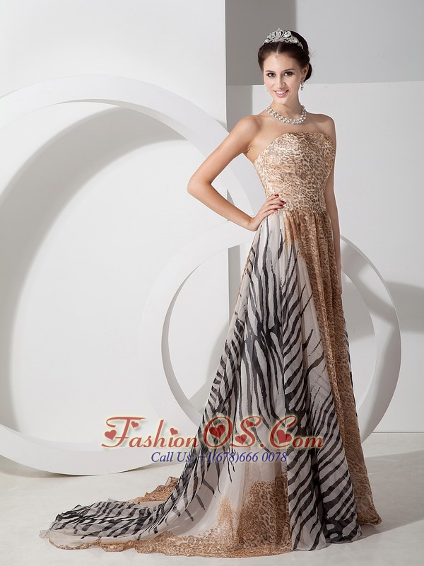 Multi-color Elegant Bridesmaid Dress Empire Strapless Leopard Court Train