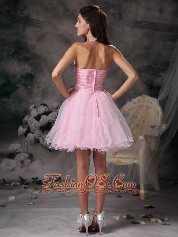 Popular Baby Pink Cocktail Dress A-line Halter Organza Beading Mini-length