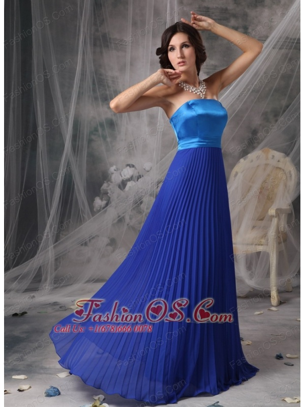 Pretty Royal Blue Elegant Bridesmaid Dress Empire Strapless Satin and Chiffon Floor-length