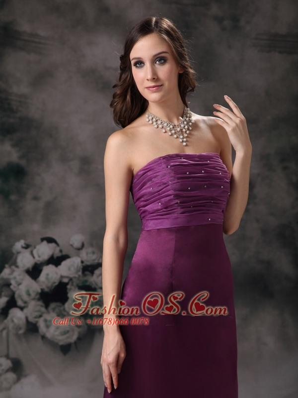 Purple Column Elegant Bridesmaid Dress Strapless Taffeta Beading Floor-length