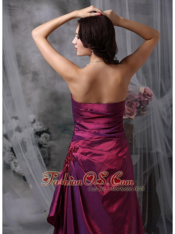 Purple Elegant Bridesmaid Dress Column Strapless Taffeta Appliques Floor-length