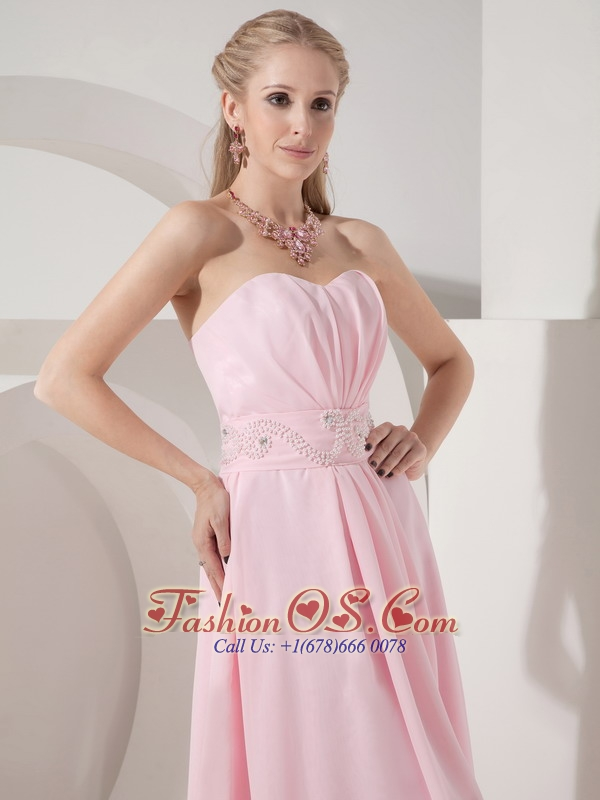 y Baby Pink Empire Cocktail Dress Sweetheart Chiffon