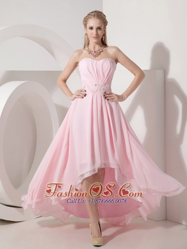 Sexy Baby Pink Empire Cocktail Dress Sweetheart Chiffon Beading High ...