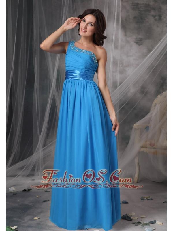 Sky Blue One Shoulder Elegant Bridesmaid Dress Chiffon Beading