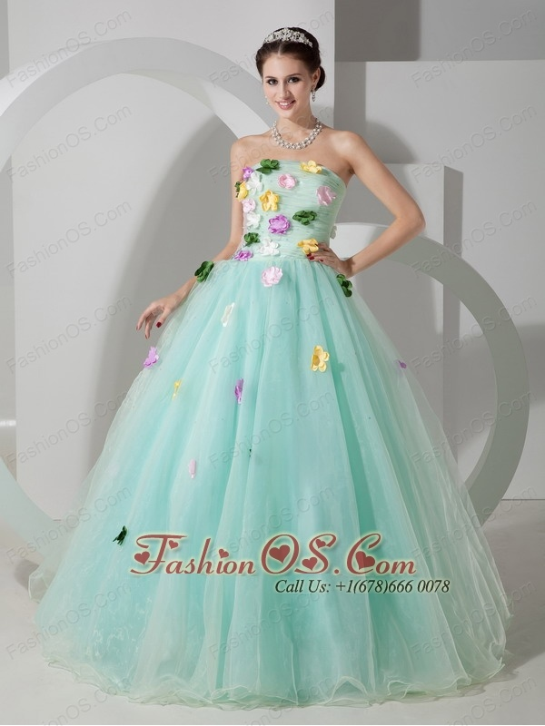 Sweet Apple Green A-line Strapless Quinceanera Dress Organza Hand Made Flowers Floor-length