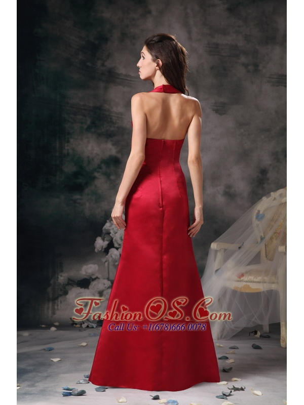 Wine Red Column Elegant Bridesmaid Dress Halter Satin