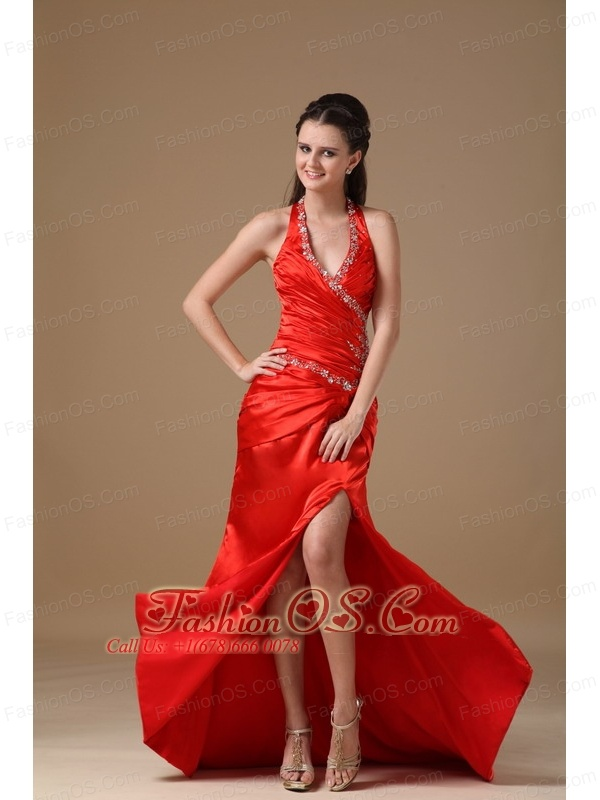 2013 Red Halter Top Prom Dress With Beading