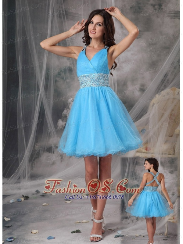 Short Prom Dress In Aqua Blue : FashionOS.com