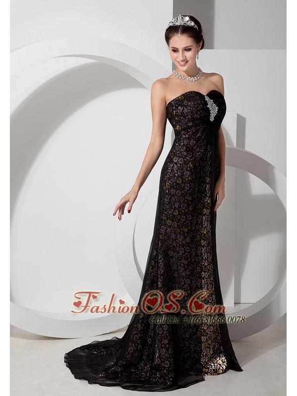 Beautiful Black Column Sweetheart Print Prom Dress Chifffon with Beading