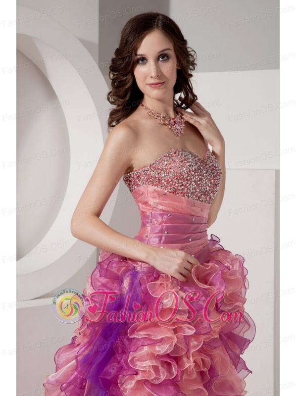 Beautiful Cocktail Dress Column Sweetheart High-low Organza Beading