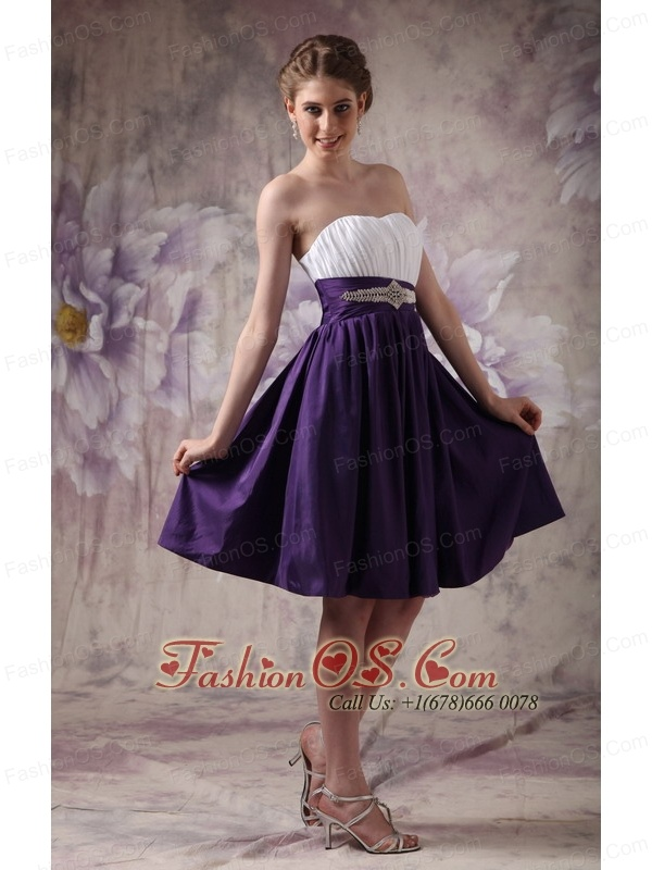 Cheap White and Purple Short Prom Dress Sweetheart Knee-length- $98.02