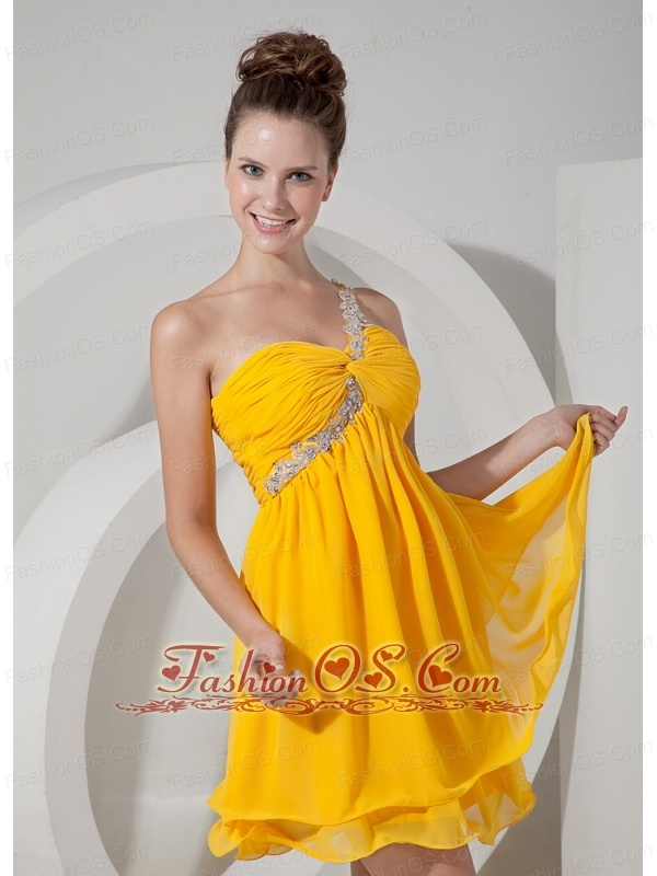 Classical Yellow One Shoulder Short Cocktail Dress Chiffon Mini-length