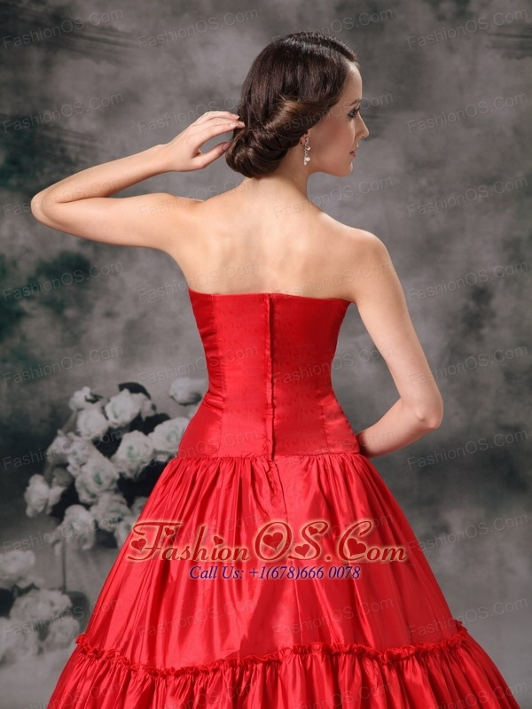 Custom Made Red Ball Gown Strapless Quinceanera Dress Taffeta Ruch Floor-length