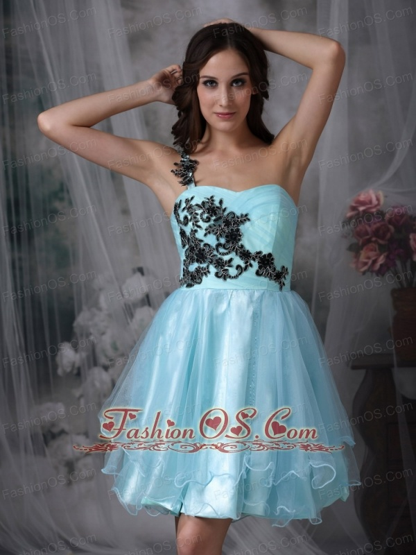 Customize Aqua Blue A-line One Shoulder Short Prom Dress with ...