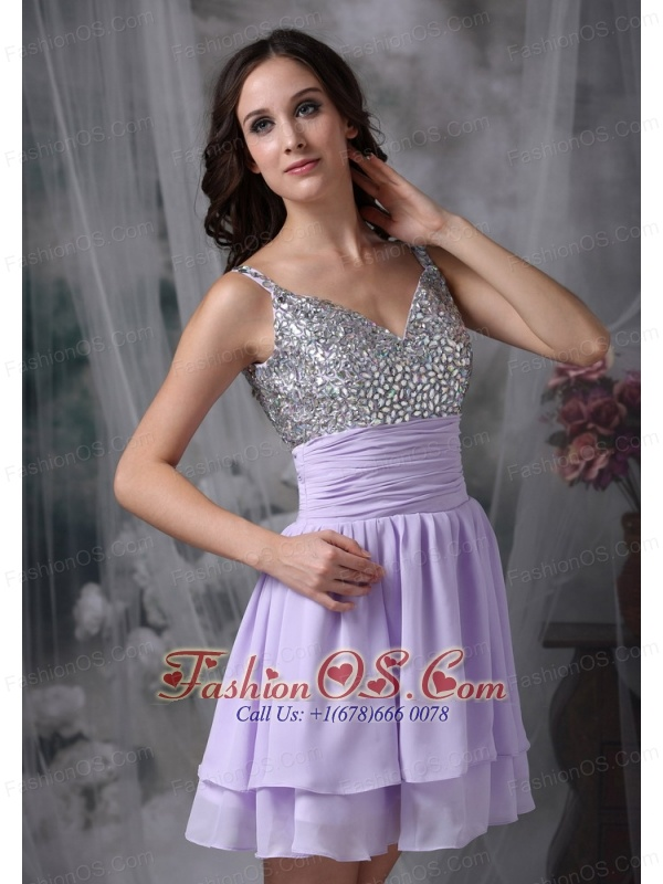 Customize Lilac Empire Straps Short Prom / Homecoming Dress Chiffon Beading Mini-length