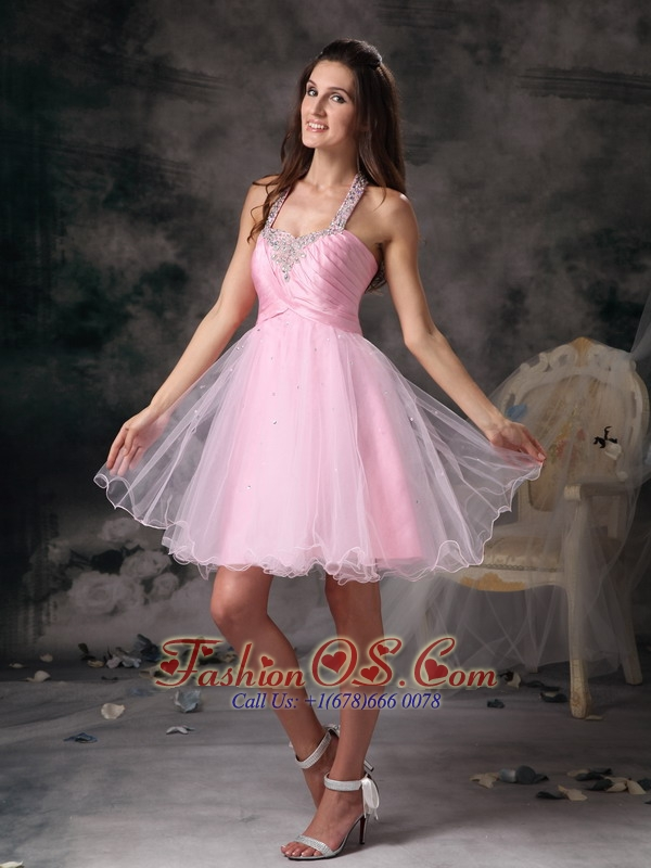Customize Pink Column Straps Short Prom Dress with Beading Mini-length