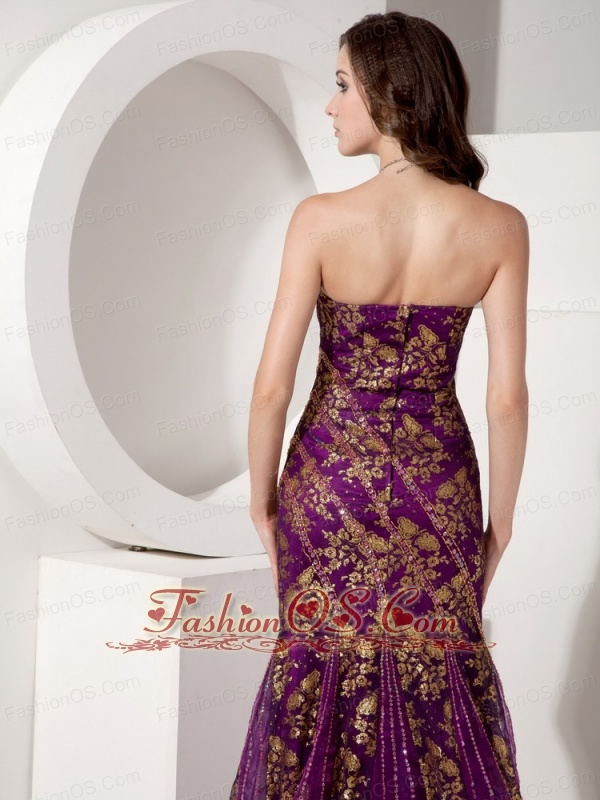 Customize Purple and Gold Trumpet / Mermaid Evening Dress Strapless Special Fabric Beading Court Train