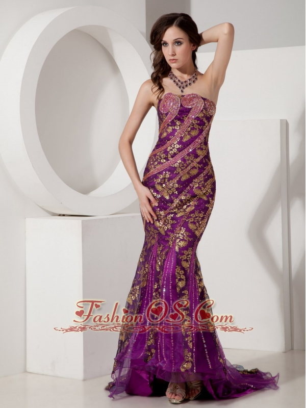 Customize Purple And Gold Trumpet Mermaid Evening Dress Strapless Special Fabric Beading Court Train