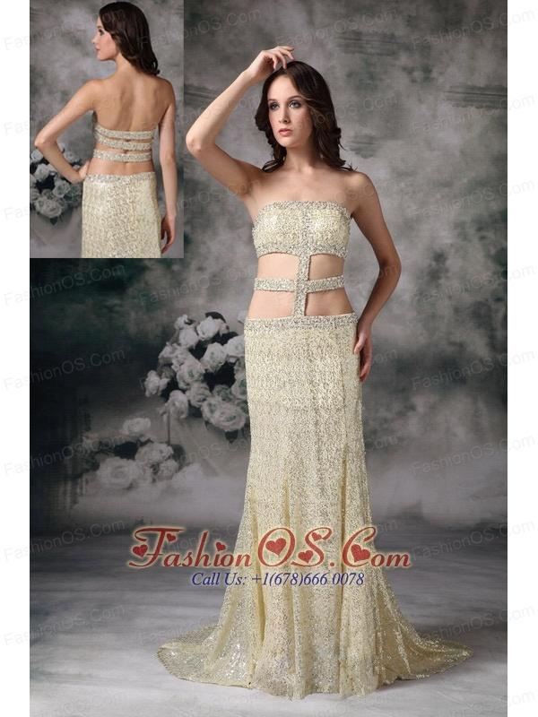 Customize Gold Empire Strapless Evening Dress Sequin Beading Brush Train