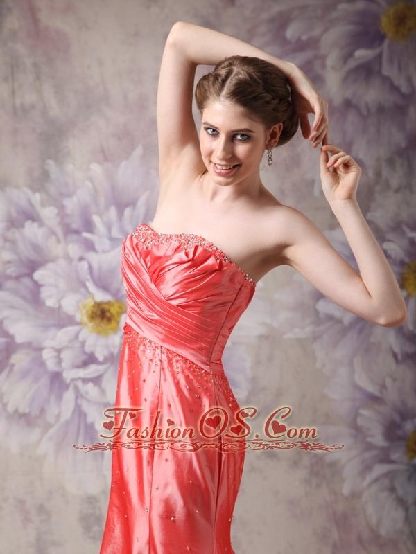 Elegant Coral Red Column Sweetheart Prom / Evening Dress Taffeta Beading
