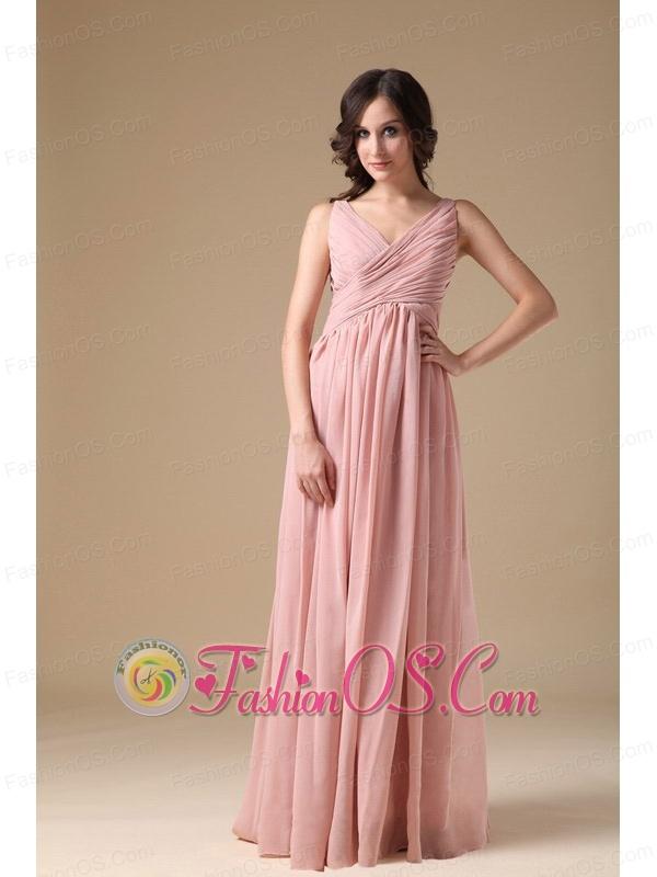Elegant Peach Pink V-neck Prom Dress Chiffon Ruch