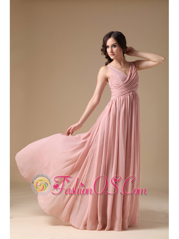 Elegant Peach Pink V-neck Prom Dress Chiffon Ruch- $119.09