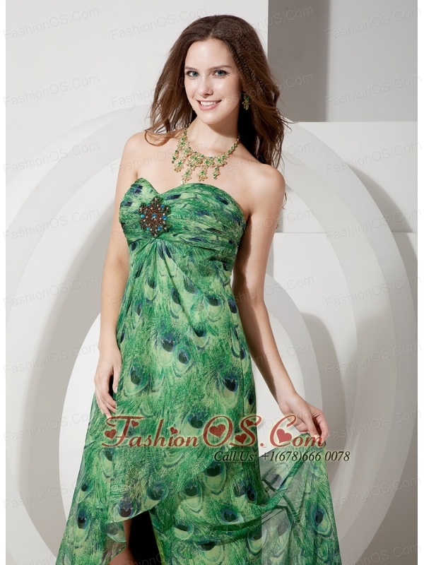 Elegant Peacock Printing Sweetheart Prom Dress with Split