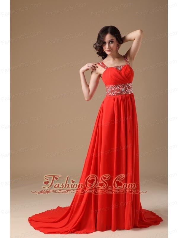 Gorgeous Red Evening Dress A-line Straps Chiffon Beading Court Train
