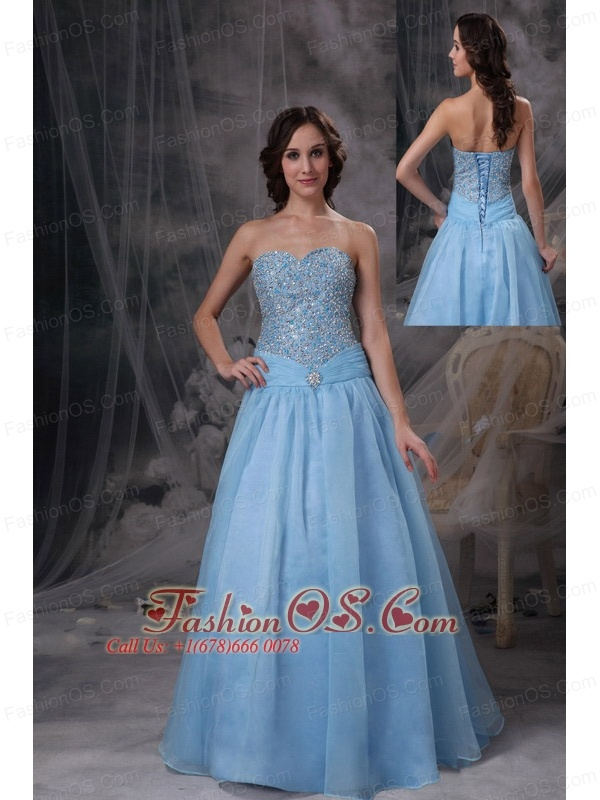 Baby Blue A-line Sweetheart Prom Dress Oraganza Beading