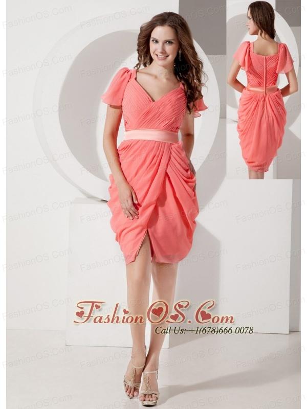 Low Price Watermelon Column V-neck Prom Dress Chiffon Belt Knee-length