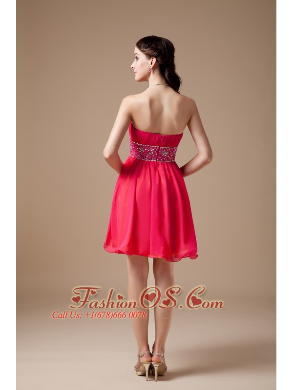 Luxurious Red Empire Strapless Short Prom   Dress Chiffon Beading Mini-length