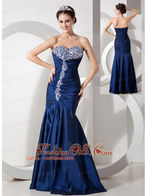 Modern Navy Blue Mermaid Prom Dress with Ruch and Beading- $145.26