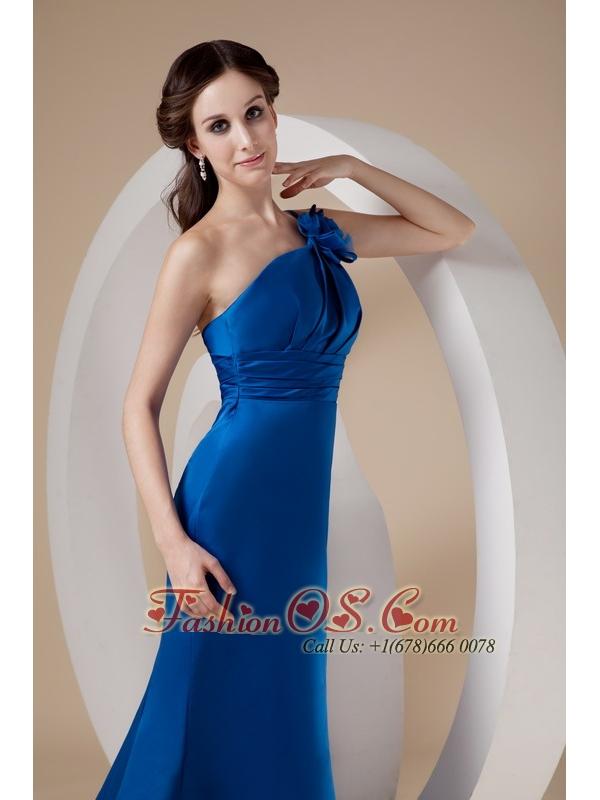 Modest Royal Blue Mermaid One Shoulder Prom Dress Satin Hand Made Flower Brush Train