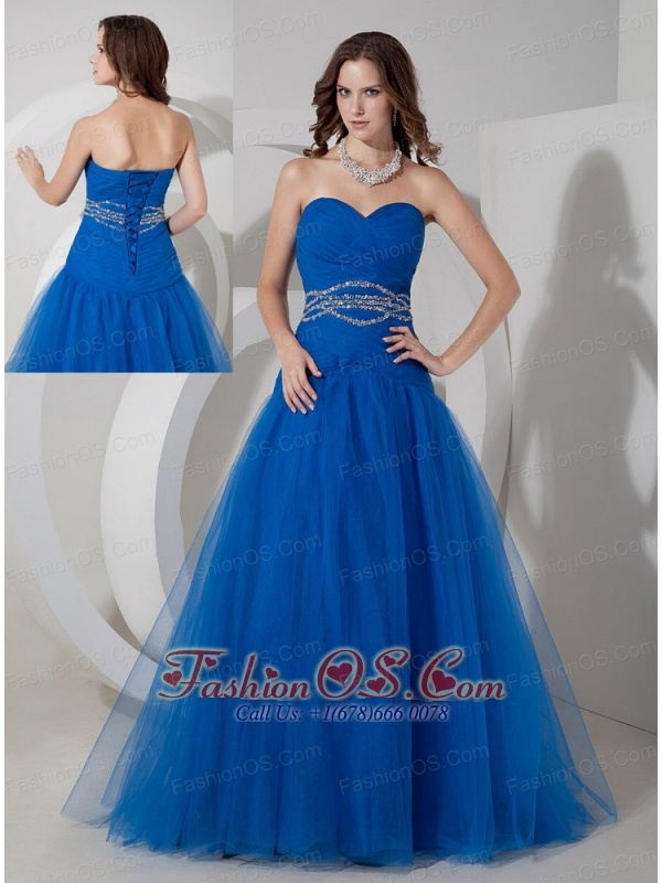 New Blue A-line Sweetheart Prom / Evening Dress Tulle Beading and Ruch Floor-length