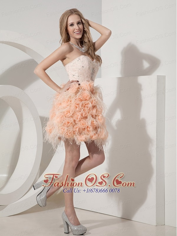 Perfect Pink Column Sweetheart Cocktail Dress Feather Beading and Hand Made Flowers Mini-length