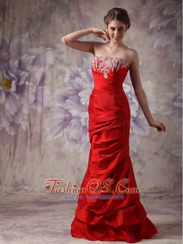 Red Column Strapless Prom / Evening Dress Taffeta Beading Floor-length