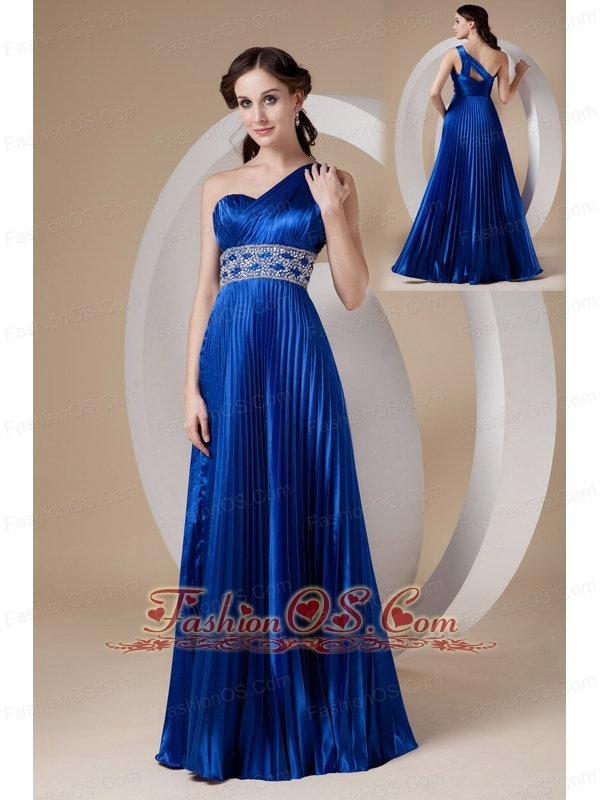 Royal Blue Empire One Shoulder Prom Dress Elastic Woven Satin ...