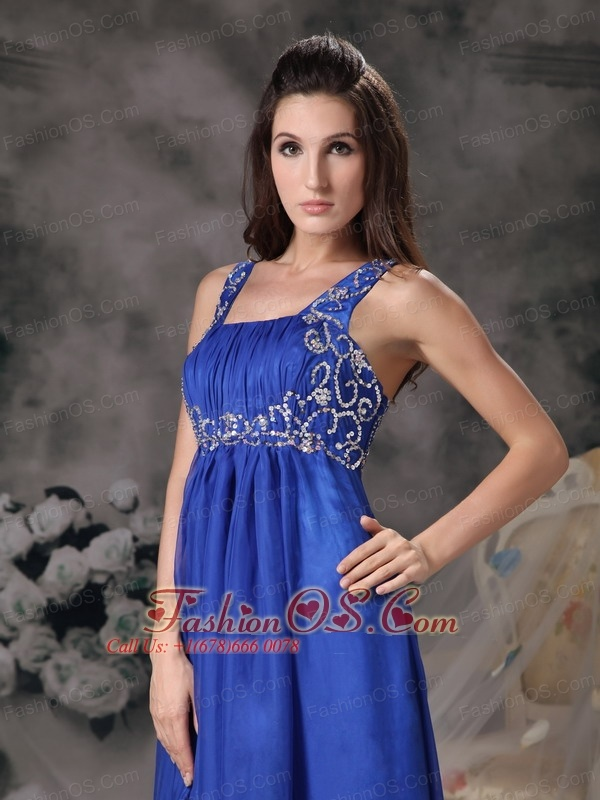 Royal Blue Straps Prom Dress Chiffon Beading Floor-length