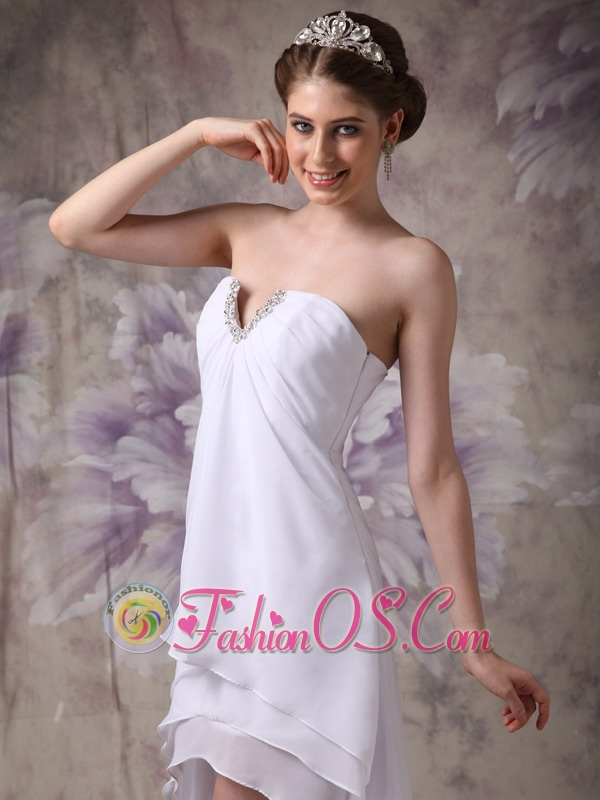 Simple White V-neck High-low Chiffon Prom Dress with Beading