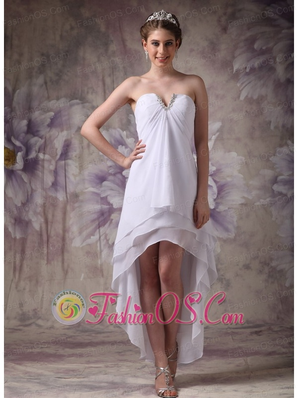 ad2044f61ec Simple White V-neck High-low Chiffon Prom Dress with Beading
