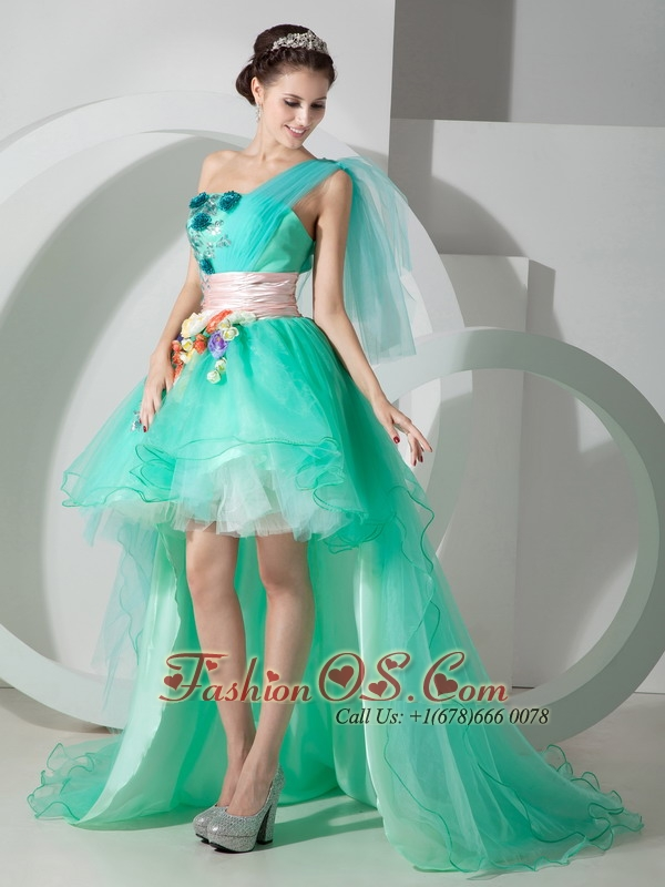 Super Hot Ice Blue One Shoulder High-low Princess Prom Dress with Beading and Appliques
