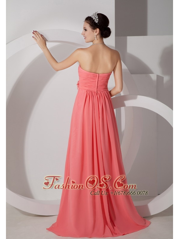 The Brand New Style Watermelon Empire Sweetheart Prom Dress Chiffon Ruch and Hand Made Flowers Brush Train