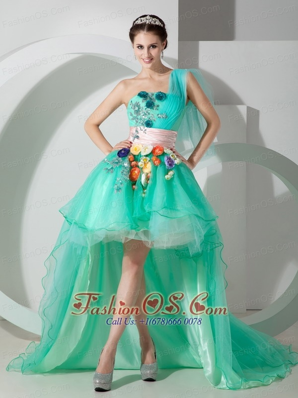 The Super Hot Apple Green Princess Cocktail Dress One Shoulder High-low Organza Beading and Appliques