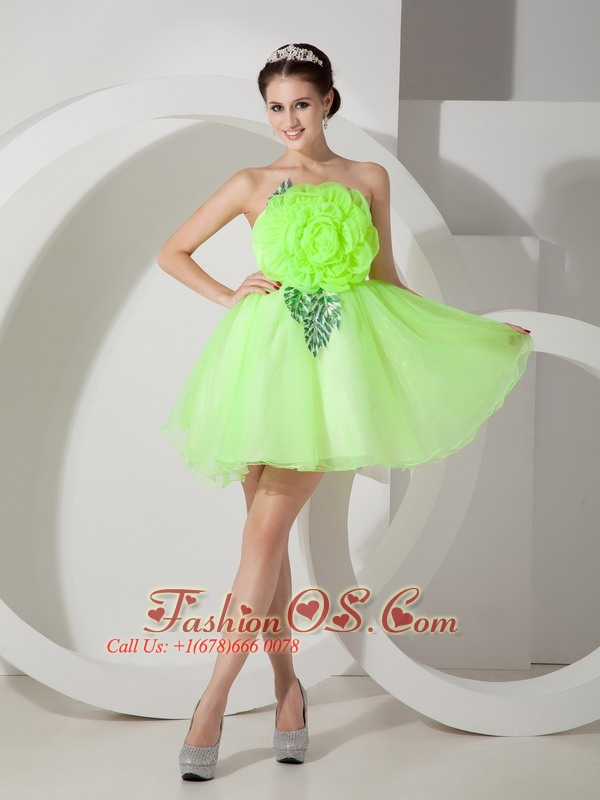Unique Strapless Short Prom Dress Hand Made Flowers- $108.46