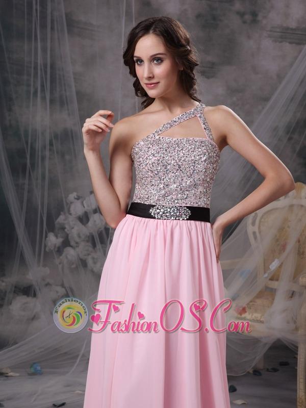 Baby Pink Empire One Shoulder Prom Dress Chiffon Beading Brush Train