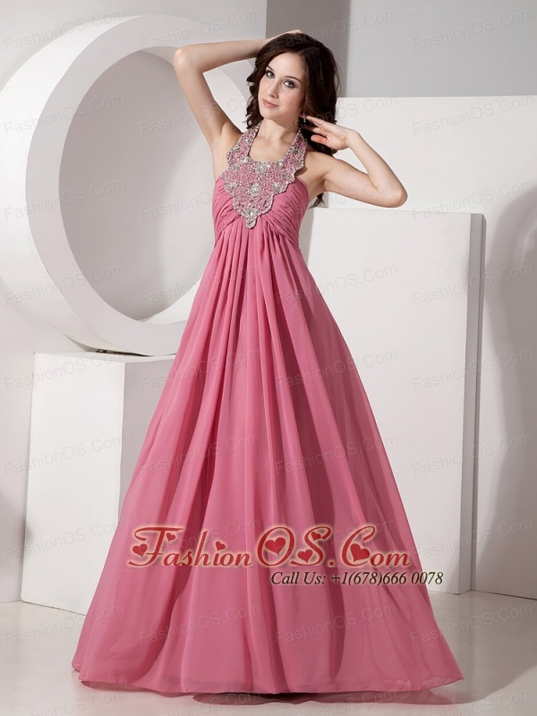 Beautiful Cheap Halter Top Chiffon Prom Dress with Beading