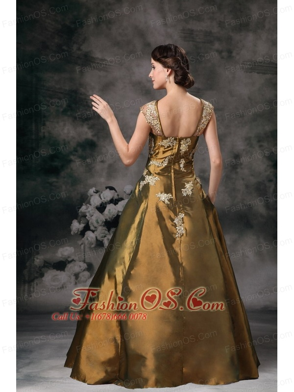 Brown Square Taffeta Prom / Evening Dress with Appliques
