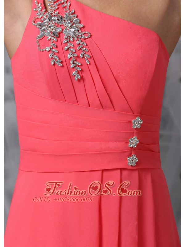 Coral Red Empire One Shoulder Prom / Evening Dress Chiffon Beading